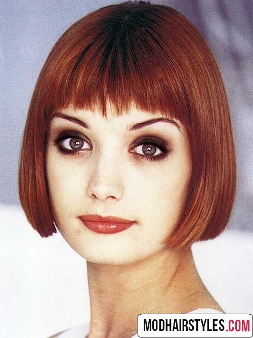 Short red Hairstyle idea with Bangs