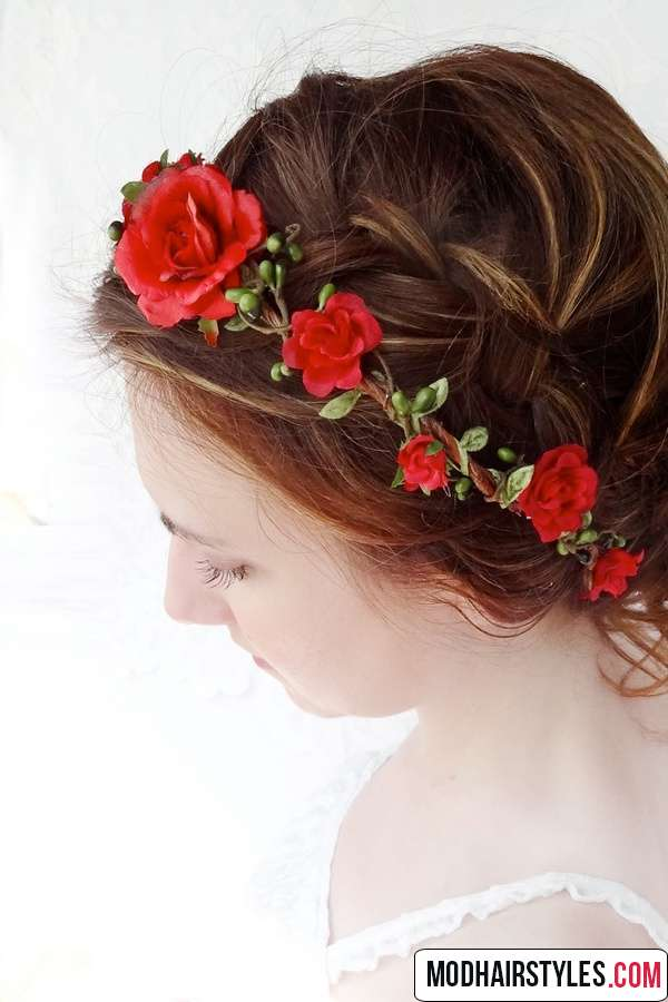 Hairstyle with red flowers