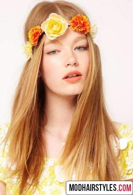 Long hairstyle with flower accessory